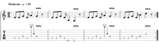Esercizio di Chitarra - Ritmi Dispari - Tab 2